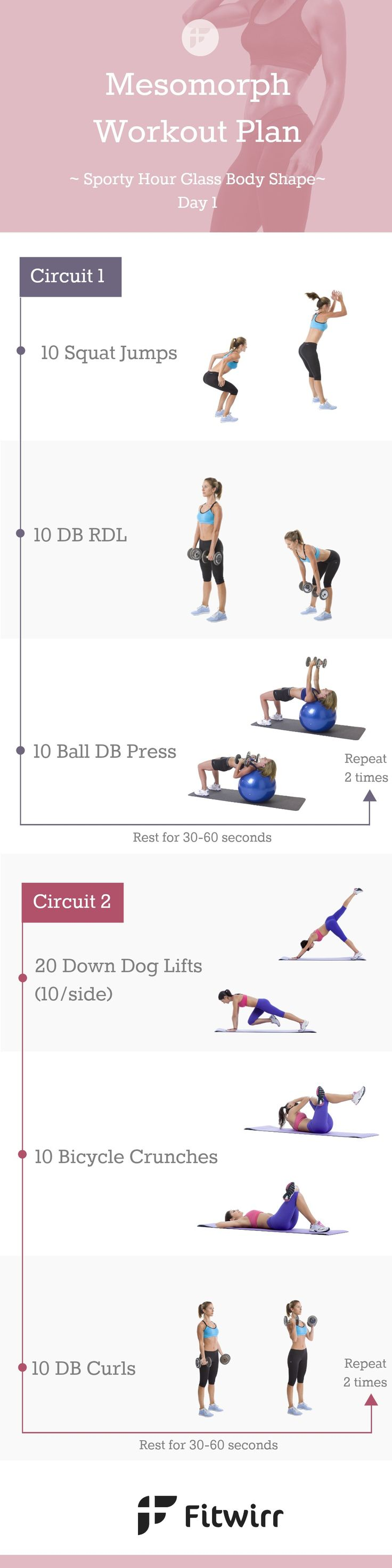 Mesomorph Workout Plan - Day 1. Are you a mesomorph woman? Then, you are in luck. Mesomorph body type can make a drastic body transformation fairly easily thanks to the lean, athletic genes. To enhance your womanly curves and tone up the bottom for a slender, lean, defined body, follow this workout for 4-8 weeks along with the day 2 and day 3 plans (coming soon!).