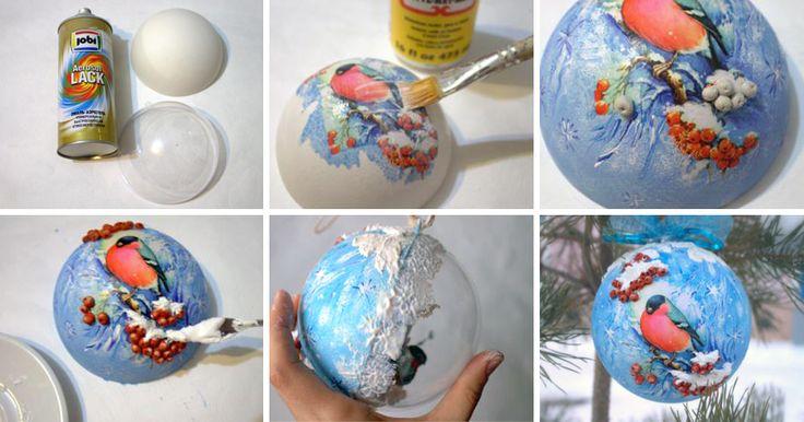 Для работы нам понадобится: - пластиковый шар разборный д12 см;- сфера из пенопласта 10 см;- краска или грунт для пластика;- текстурная паста таир тонкая;- краски акриловые: голубой, синий, белый, оранжевый, умра жженая, охра желтая;- клей лак для декупажа;- моделирующая гель паста 'Ледяная';- паста для моделирования, самоотвердевающая;- лак полуматовый или глянцевый для финишного покрытия;- дек…