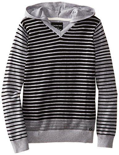 Calvin Klein Big Boys' CK Stripe Long Sleeve Sweater, Grey Heather, Large