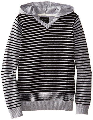 Calvin Klein Big Boys' CK Stripe Long Sleeve Sweater, Grey Heather, Large