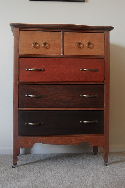 "This was a drab old dresser before it got ""ombre stained"""