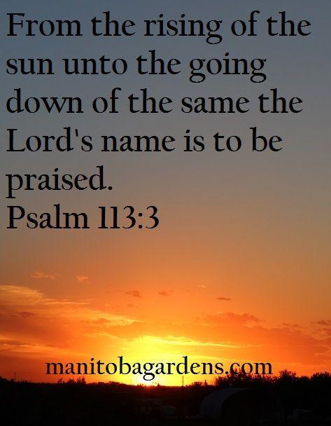 MANITOBA GARDENS: Scripture Picture Sunday # 13 - Psalm 113:3
