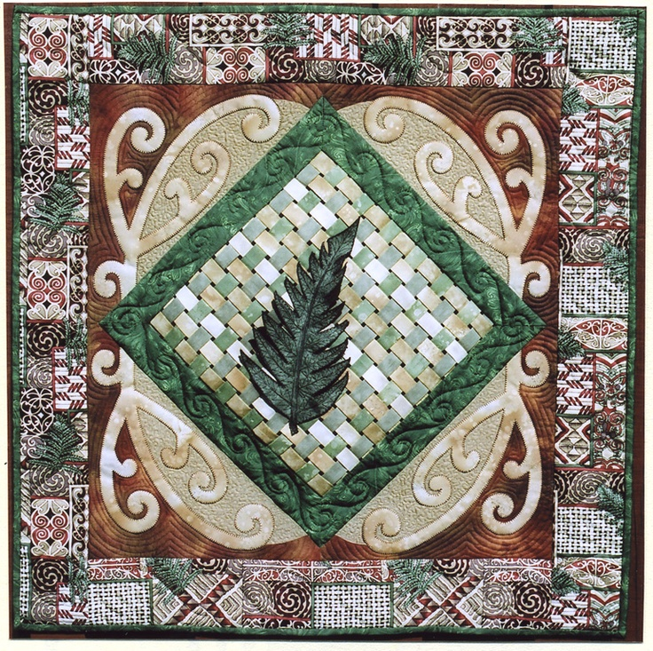 NZ cutural art quilted wallhanging - Kowhaiwhai  Designed by Libby Shallard and made by Mary Mecalf