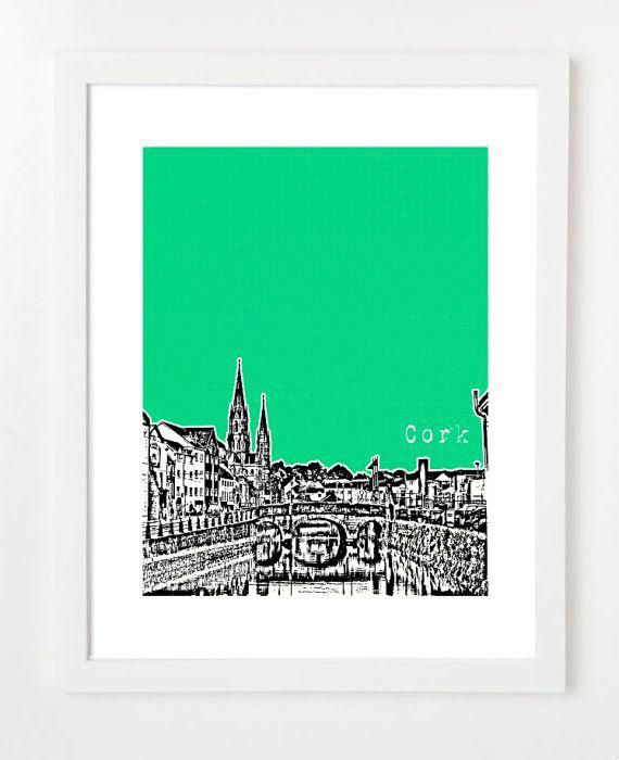 Cork Ireland Art - Cork City Ireland Skyline Poster - 8x10