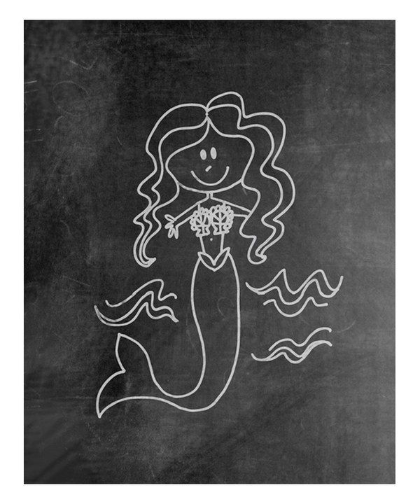Look at this Mermaid Chalkboard Print on #zulily today!