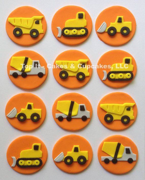 Fondant Cupcake Toppers  Construction Trucks by TopItCupcakes, $22.00