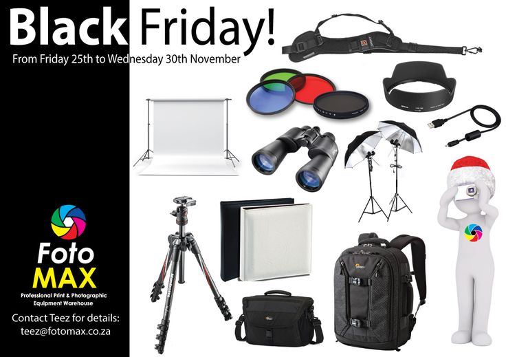 We are having #BlackFriday at Fotomax! with a huge sale on all equipment in stock from #Friday 25th November to Wednesday 30th November. Half price on EVERYTHING except for #lights and #backgrounds.  Lights and backgrounds will be less 10%. We are open Saturday from 8am to 12 noon to :-) Contact Teez for more details: teez@fotomax.co.za   031 512 5177