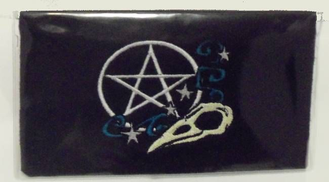 Checkbook Cover, Pagan Raven,Pentagram,Wiccan, Pagan, Pagan Embroidery Guy Friendly,Black by NittyGrittyThreads on Etsy
