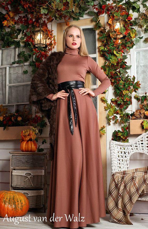 Beige Dress Spring Dress Autumn Dress Maxi by AugustVanDerWalz