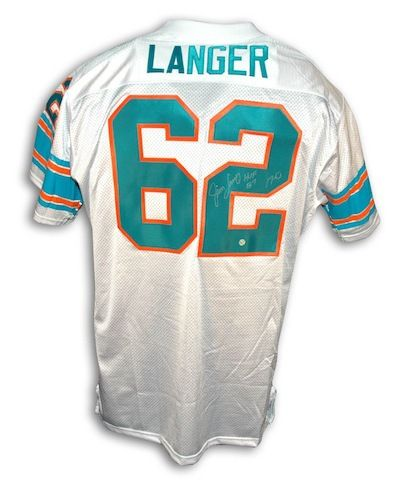 """Autographed Jim Langer Miami Dolphins Throwback White Jersey Inscribed """"""""HOF 87"""""""" and """"""""17-0"""""""""""