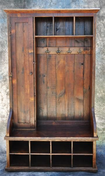 Reclaimed Rustic Wood Mudroom Organizer With Door 48
