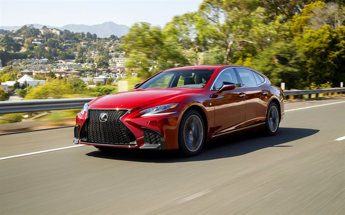Download wallpapers Lexus LS 500 F Sport, 4k, 2018 cars, road, red lexus ls, japanese cars, Lexus