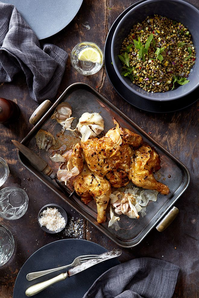 Peter Goffe-Wood's chilli and garlic chicken with lentil salad.