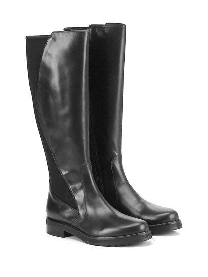 LAURA BELLARIVA - Stivali - Donna - Stivale in pelle e tessuto elasticizzato con…