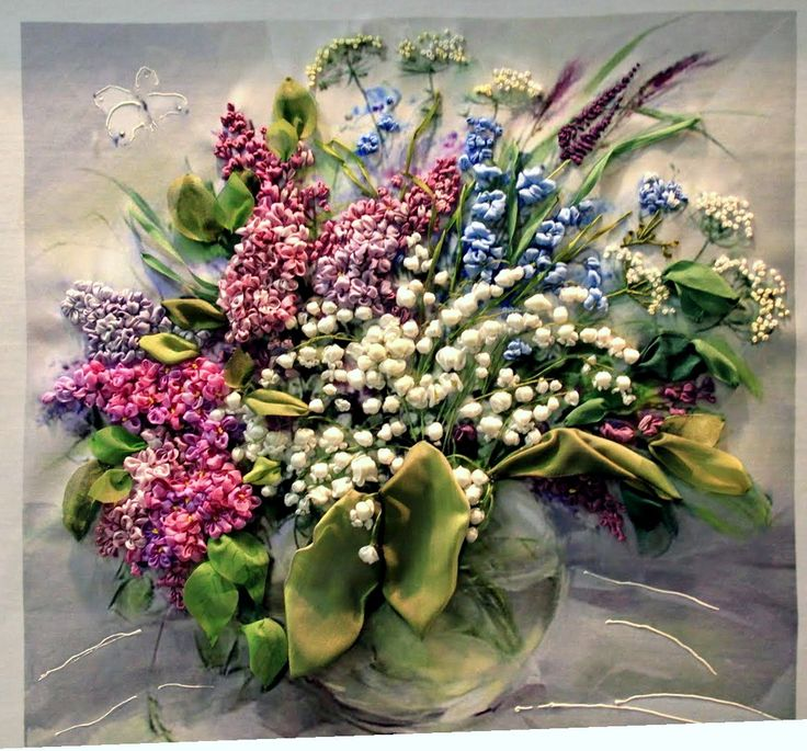 Lilacs and Lillies - Ribbon Embroidery