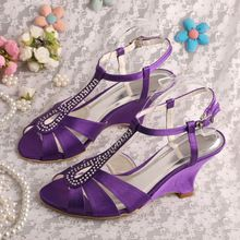 Wedopus Cut-out Sandali Con Zeppa Viola Raso Summer Party Shoes Dropshipping(China (Mainland))