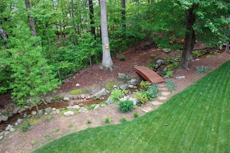 Renovation drainage ditch shady grove landscape for Yard drainage options