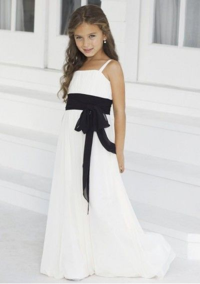 Chiffon Spaghetti Straps A-Line Style with Contrasting Band Junior Bridesmaid Dress WJB-0014