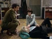 Sarah and the Brig witness the Doctor regenerate. (in Planet of the Spiders, 1974) - Brigadier Sir Alistair Gordon Lethbridge-Stewart, played by Nicholas Courtney (16 December 1929 – 22 February 2011); Sarah Jane Smith played by Elisabeth Sladen (1 February 1946 – 19 April 2011); and Dr. Who played by Jon Pertwee (7 July 1919 – 20 May 1996).