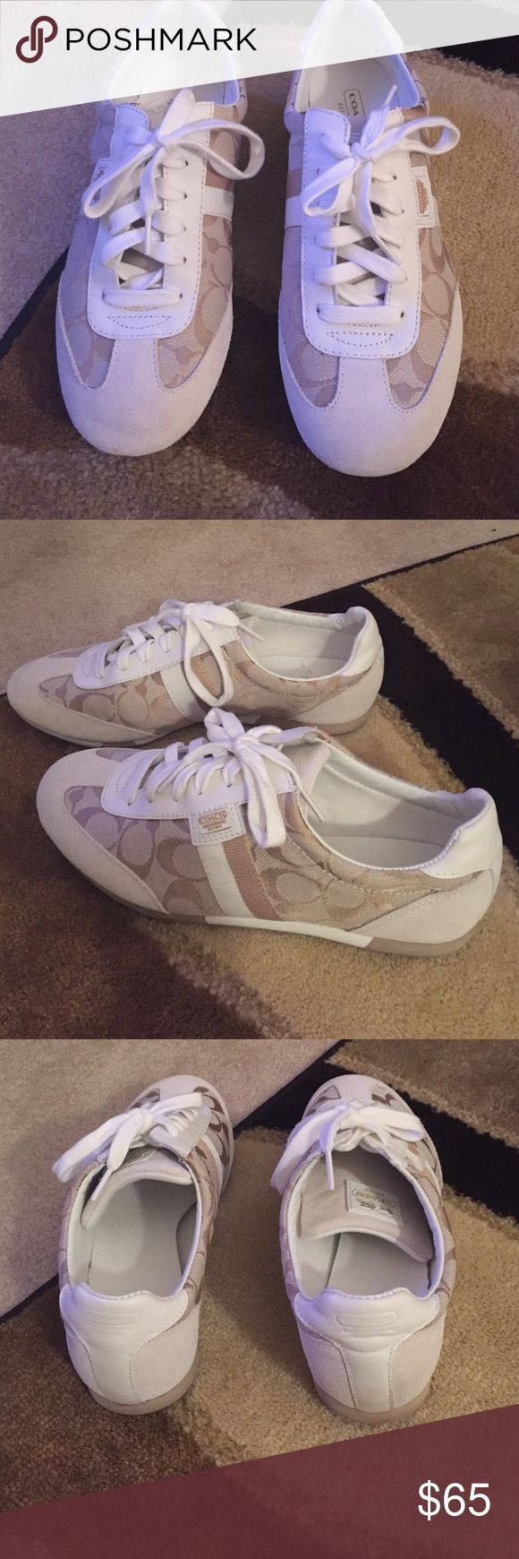 Coach Tennis Shoes Tan/white Coach tennis shoes. Coach Shoes Sneakers