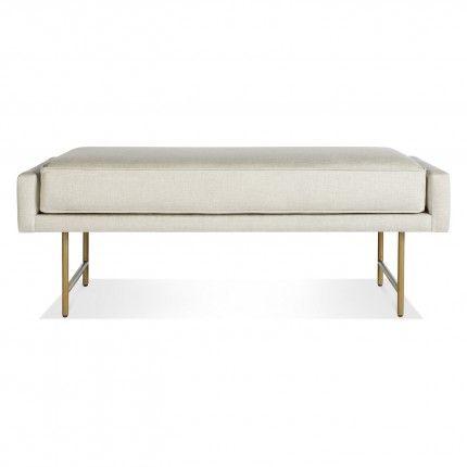 """Bank Bench, Modern Benches, Linen & Brass - 18"""""""