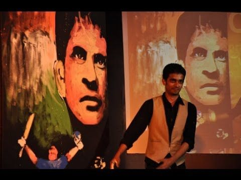 Vilas Nayak painting Master Blaster Sachin Tendulkar for India Inclusion...