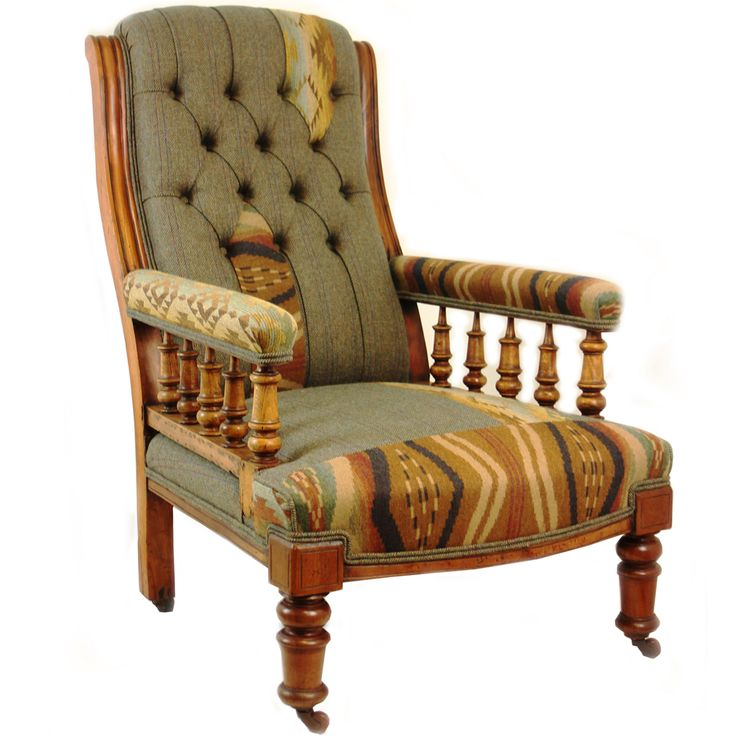 Original vintage Victorian gent's mahogany armchair circa 1870-90 traditionally restored with a twist. Original polished removed to show all character. Upholstered in a combination of Johnstons of Elgin tweed. http://www.petersilk.co.uk/product.php/1453/victorian-gent-s-mahogany-armchair