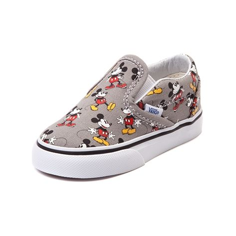 Step into the magic of the Mickey Mouse Skate Shoe from Vans! Sized down for little feet, this classic Vans Slip-On toons it up a notch with the charming style of Mickey Mouse, sporting a Mickey Mouse printed canvas upper with soft lining for breathable comfort. Look carefully at each print to see if you can spot the hidden Mickey ears! o   Only available online at JourneysKidz.com!