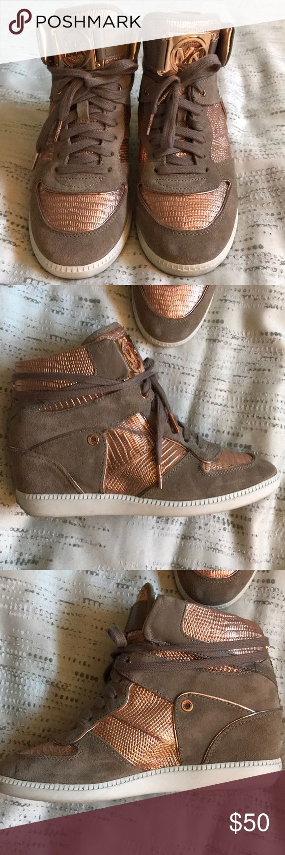 Rose Gold and Taupe Suede Sneaker Wedges Worn only once, these rose gold and taupe suede Michael Kors wedge sneakers are great for the girl looking to up her trendy look. Still in perfect condition and extremely comfortable. Michael Kors Shoes Sneakers