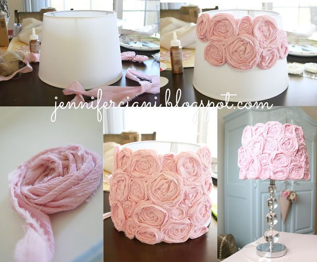 DIY Lamp for Girls room. Baby. Pink. Lamp. Lampshade. How to. Fabric. Glue.