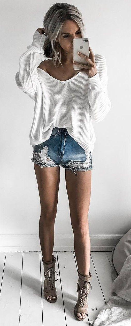 street style perfection; white top + denim shorts + heels