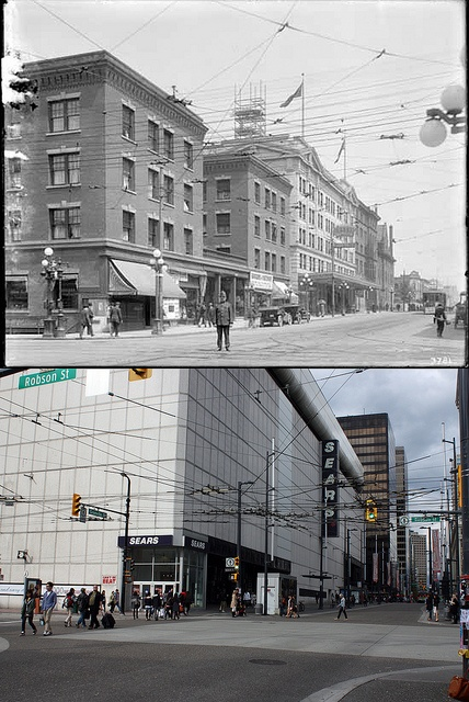 Vancouver Then and Now: NW Corner of Granville and Robson - 1913/2012