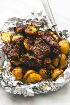 Packets of garlic and potato steak   – Kochen