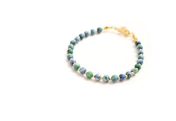 Delicate Ocean Jade and Gold Bracelet Blue Green by elfinadesign
