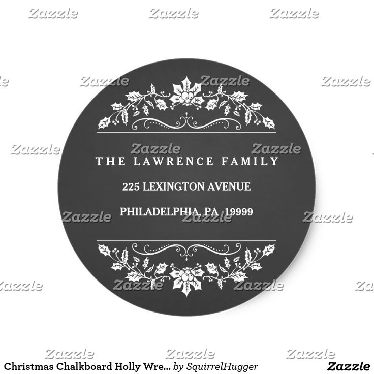 Christmas Chalkboard Holly Wreath Address Stickers