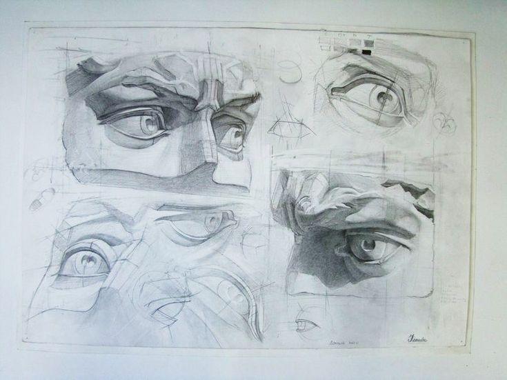 Учебный рисунок Часть лица. Давид