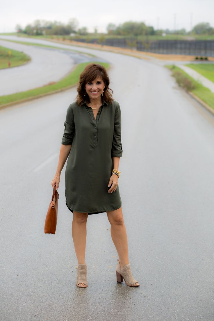 Old Navy Shirt Dress + Booties