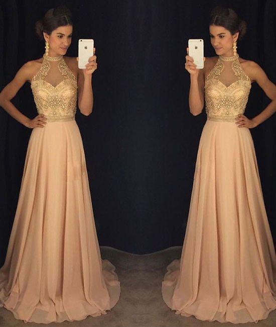 Champagne bead long prom dress, champagne formal dress