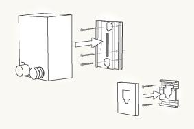 pid:  取付について  new pidは、アルミプレートを使った新しい取付方法を採用しています。アルミプレートを下地(間柱)に固定して本体・フックカバーを被せるだけで固定できます。また、プレートの固定箇所が簡素化(直線状に)されたため、後付けが容易になりました。    ※pidの取付には、(1)下地探し、(2)電動ドリル、(3)ドライバーが必ず必要になります。