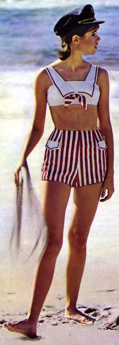 1960's amazing nautical bikini !! Gimme gimme !!     60s fashion