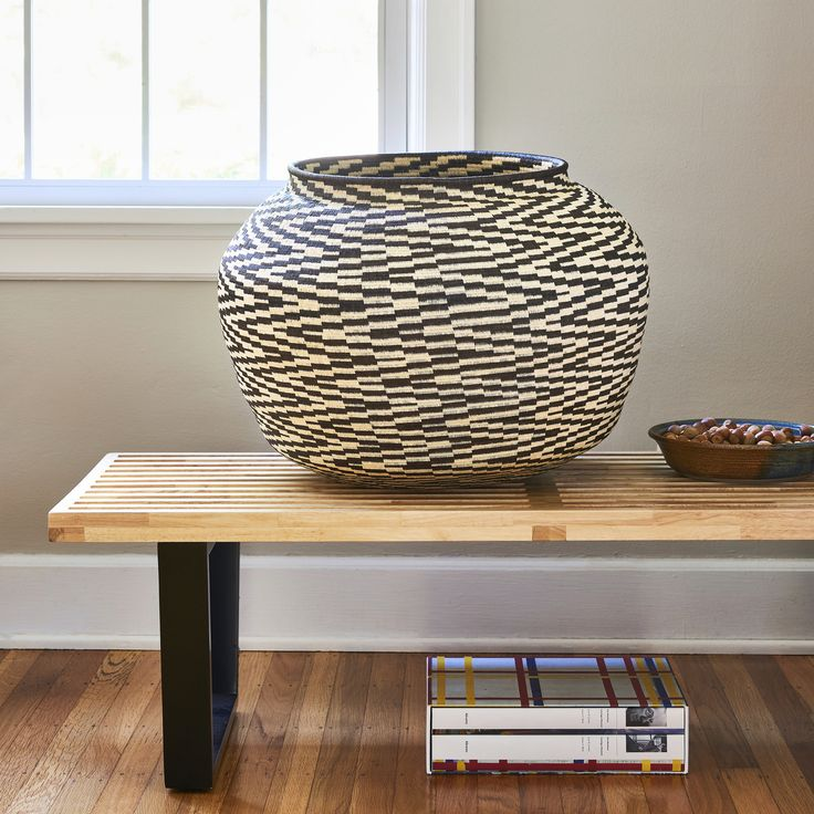 Grande Black & White Cultural Basket by Maria Cabezon, contemporary. Courtesy of Rainforest Baskets