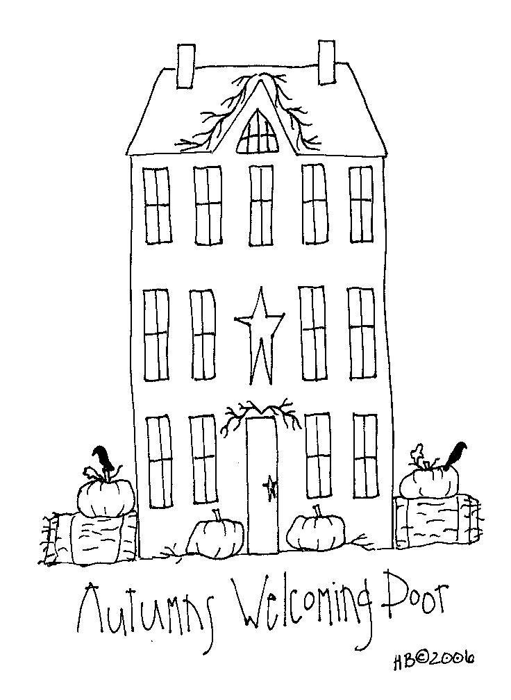 pumpkins - crows - hay bales - primitive home   autumns welcoming door...