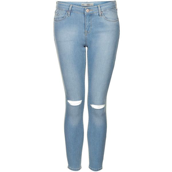 TOPSHOP Petite MOTO Rip Bleach Leigh Jeans found on Polyvore