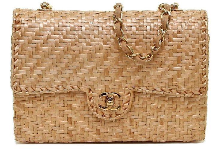 Chanel Väskor Vintage : Chanel classic rattan wicker single flap gold hw leather