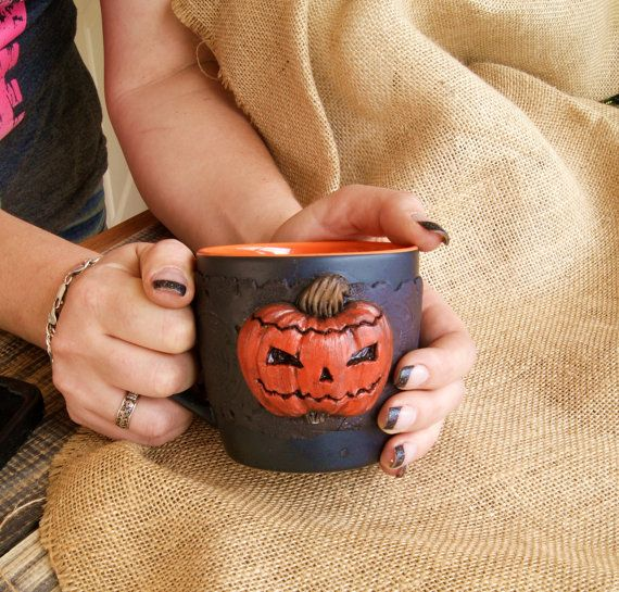 Halloween cup for coffee and tea, polymer clay, pottery, mug