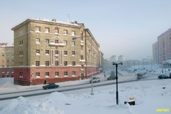 City landscape  in  Norilsk,   Siberia, Russia    ----------                             A city in the arctic dessert. A city without a single tree. A polar oasis.