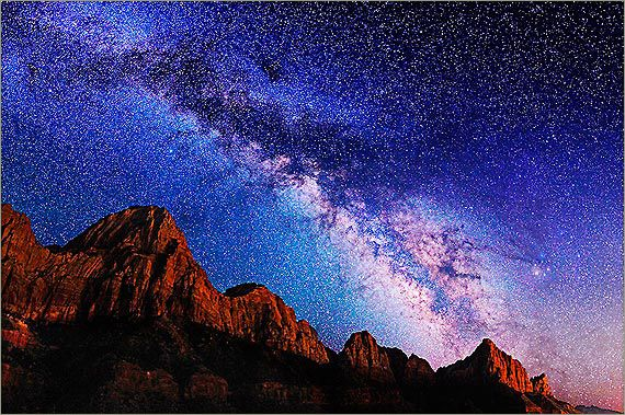 Mily Way over cliffs of Zion National Park -- I would love to get an amazing star photo like this some day....