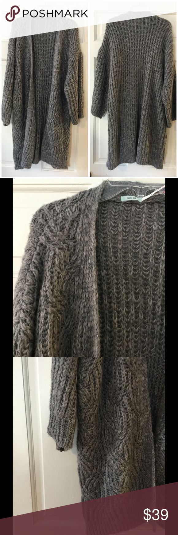 """⚡️SALE⚡️ Kimchi Blue Metallic Blanket Cardigan This oversized, super soft Kimchi Blue Dolman Sleeve cardigan has silver threads running throughout. Acrylic/polyester. Machine wash.  Underarm across 24"""". Length 35"""". Excellent condition. EUC. Urban Outfitters Sweaters Cardigans"""