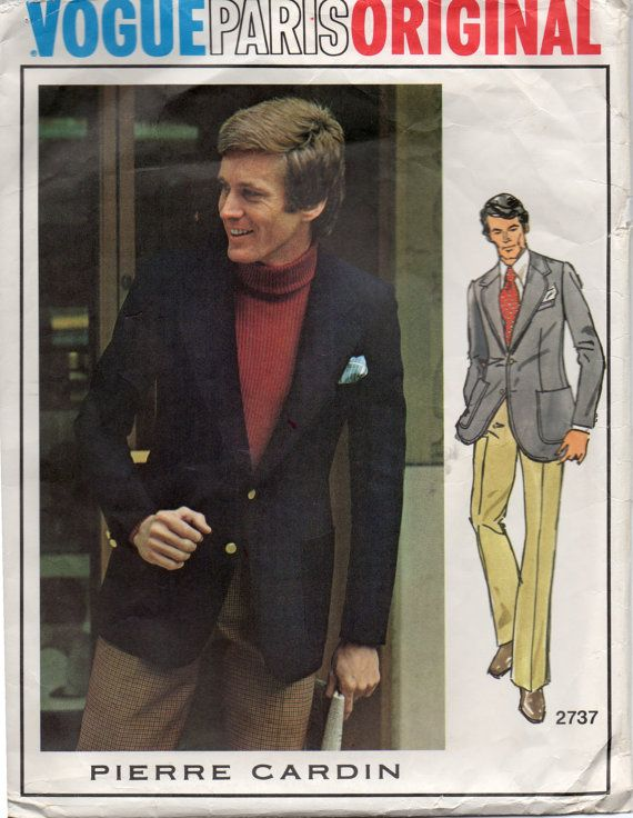 Vogue 2737 1970s Paris Original Pierre Cardin Mens Designer Jacket and Straight Leg Pants adult vintage sewing pattern  by mbchills