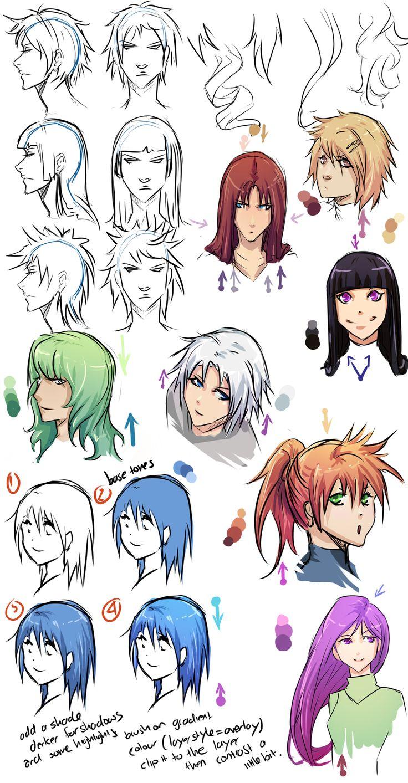 Cell shading anime hair by *moni158 on deviantART Anime